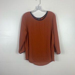 Papermoon Dauwens crew neck blouse in burnt orange